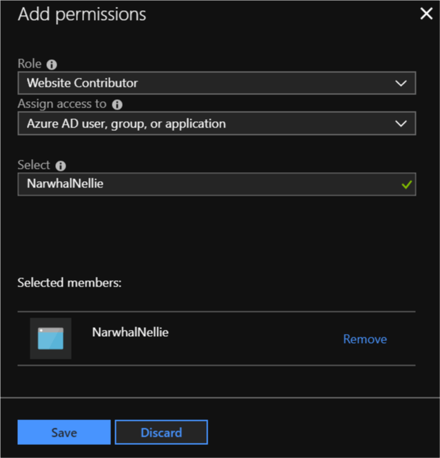 Adding permissions to an account